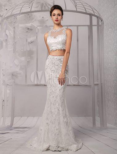 Vestido de novia de escote sirena del cordón de Cultivos-tapa de la ilusión de dos piezas - Milanoo.com                                                                                                                                                      Más