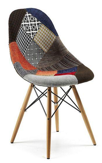 Chaise design en tissu aux motifs patchwork BARNABE