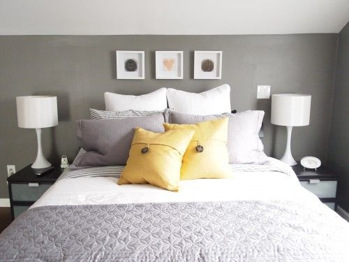 we have this same bedding...adding yellow accents would be a great way to freshen it up in our new house without buying all new...