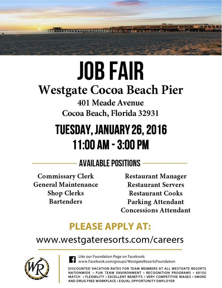 Job Fair At The Cocoa Beach Pier January  Art Pinterest Job Fair