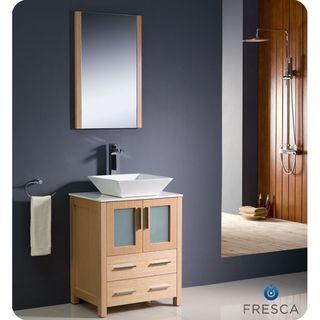 The Art Gallery Fresca Torino inch Light Oak Modern Bathroom Vanity with Vessel Sink