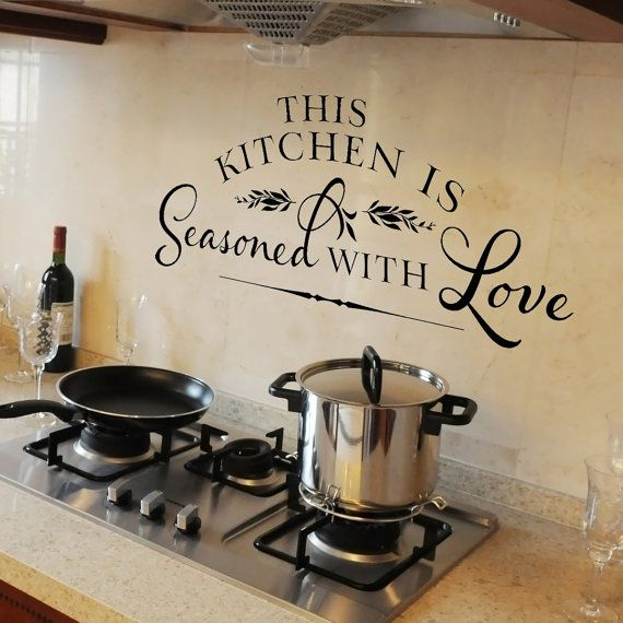 kitchen wall decal this kitchen is seasoned with love vinyl wall decal - Kitchen Wall Decorations