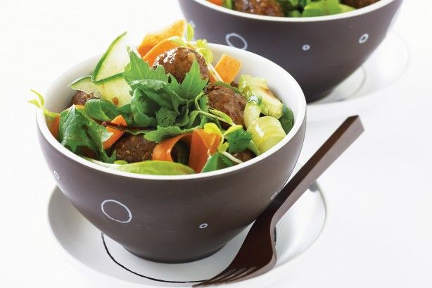 Hungry for change? Have balls of fun making this fabulous Asian meatball salad!
