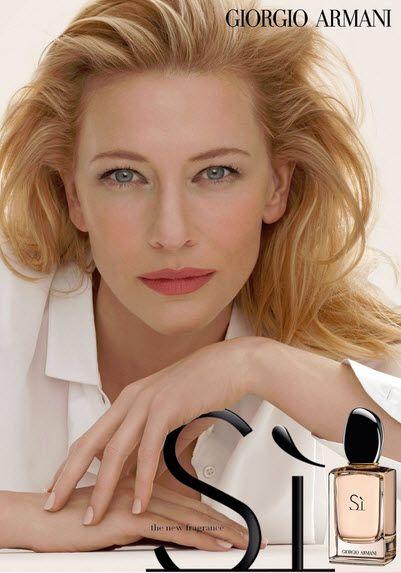 Cate Blanchett in the face of Giorgio Armani's Si fragrance