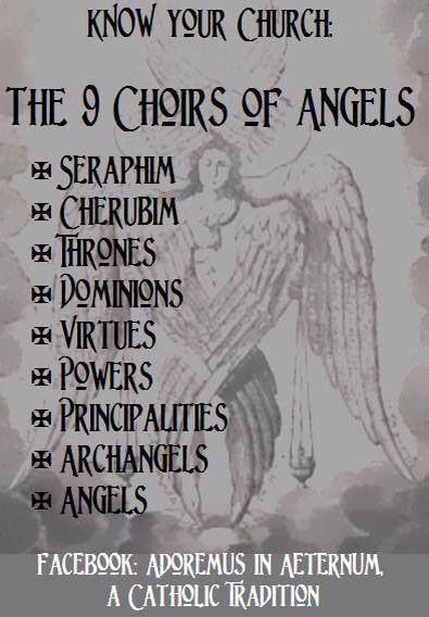 The 9 Choirs of Angels. Pretty awesome to know that the higher the angel is the more beautiful and close to God the angel is. I can't even imagine!