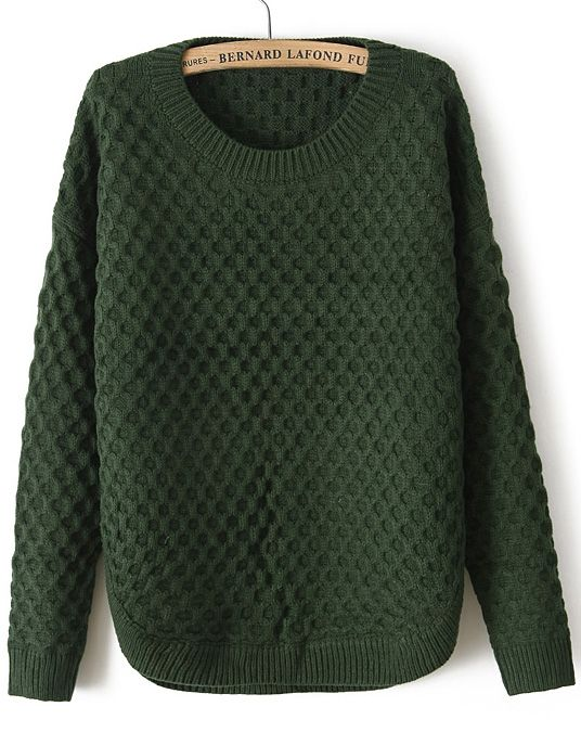 Army Green Long Sleeve Diamond Patterned Sweater EUR€23.73