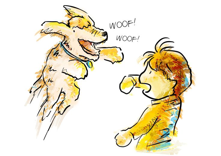 Harvey the dog and Boy in yellow coat | 99designs