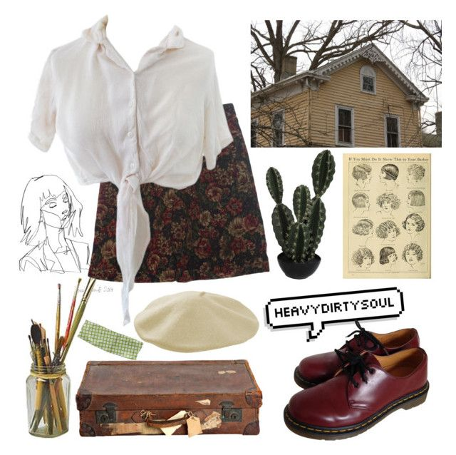 """56"" by ourijimin ❤ liked on Polyvore featuring Dr. Martens, Talbots and Abigail Ahern"