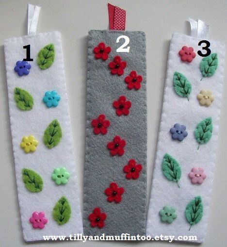 Handmade Felt Bookmark- Flowers & Leaves. Stocking Filler/Stuffer,Party Favor,Secret Santa Gift,Teacher Gift,Birthday/Christmas Gift.(Etsy のTillyandMuffinTooより) https://www.etsy.com/jp/listing/253289116/handmade-felt-bookmark-flowers-leaves