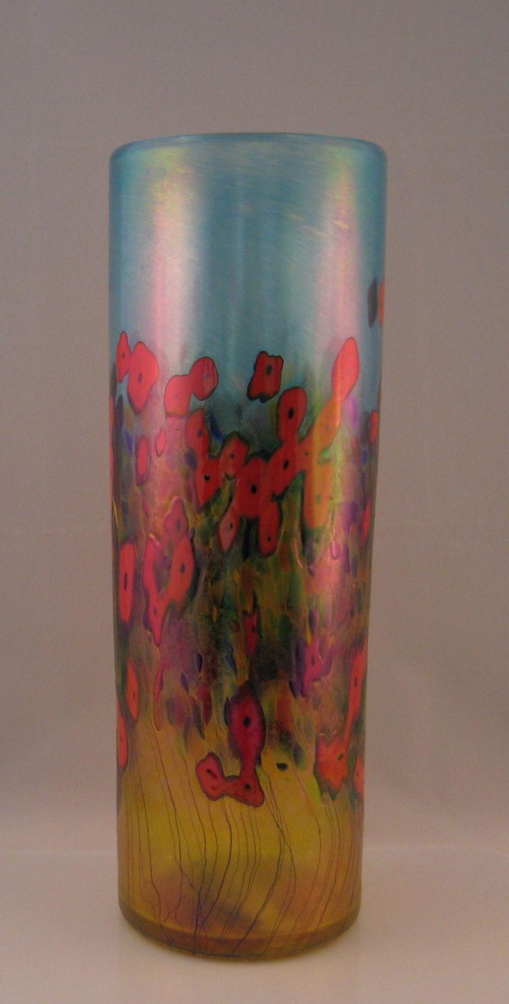 Red California Poppy Large Cylinder Vase