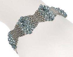 Free Pattern Peyote Weaved Beaded Silvery Bubbles Bracelet