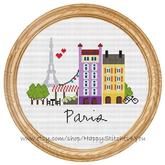 Cross Stitch Pattern PDF Paris DD0067 par HappyStitches4You sur Etsy