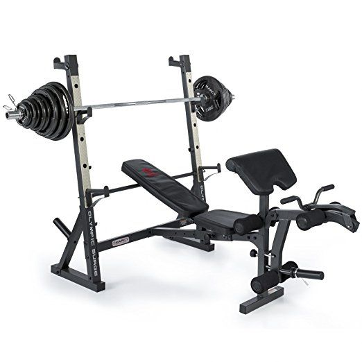 Marcy Diamond Elite Olympic Weight Bench with Squat Rack with 140kg Olympic Weight Set - 270kg Weight Load | Preacher Pad | Leg Developer