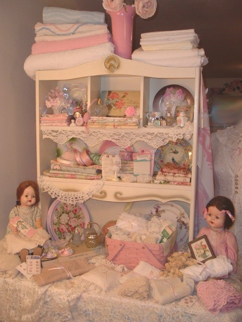 One of my Favorite Vintage Vignettes  Composition Dolls Millinery Flowers Fabrics and More YUM