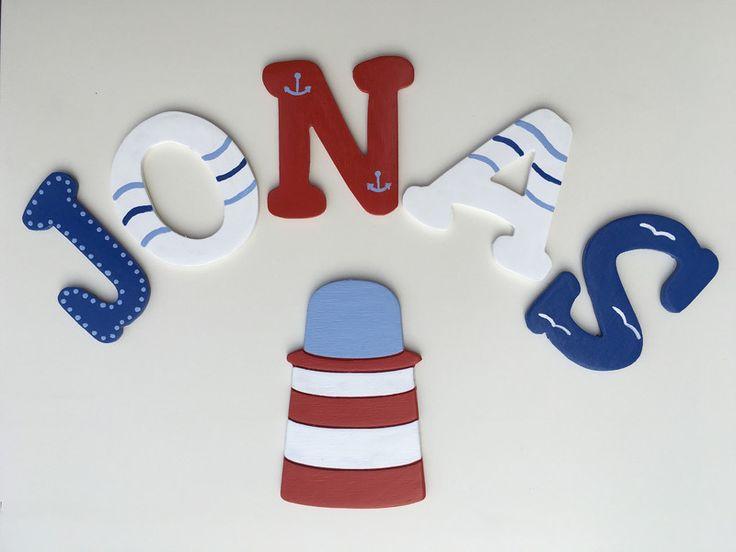 Inspirational Holzbuchstaben Holzbuchstaben f r Kinderzimmer T r Maritim ein Designerst ck von Flophi bei DaWanda