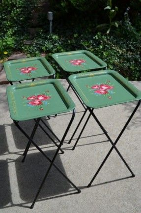 Vintage Mid-Century Retro Cal-Dak Set of 4 Green TV Trays w Black