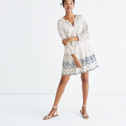 "With its exaggerated sleeves and artfully oversized fit, this is a tunic dress for easy days. Plus, it comes in light-as-air jacquard with a pattern inspired by traditional Indian textiles.  <ul><li>Nonwaisted.</li><li>Falls 35"" from highest point of bodice.</li><li>Cotton.</li><li>Lined.</li><li>Machine wash.</li><li>Import.</li><li>Select stores.</li></ul..."