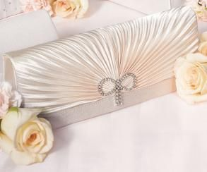 New Bridal Classic Rouching - Hand Bag - $59.99Evening Bags, Brides Accessories, Classic Rouched, Clutches Bags, Bridal Pur, Crystals Bows, The Brides, Wedding Bags, Bridal Accessories