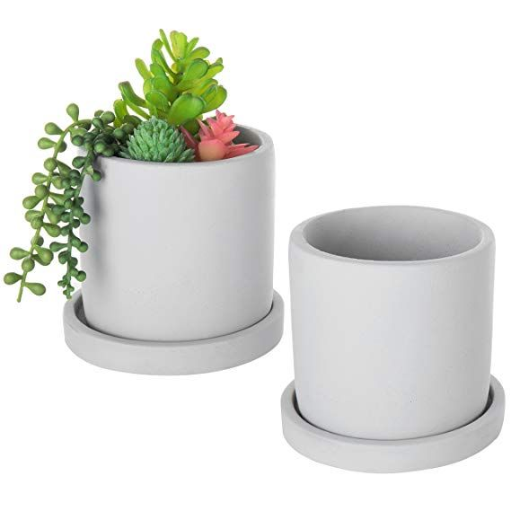Mygift Concrete 4 Inch Mini Succulent Planter Pots With Drip Tray Set Of 2 With Images Succulent Planter Mini Succulents Planter Pots