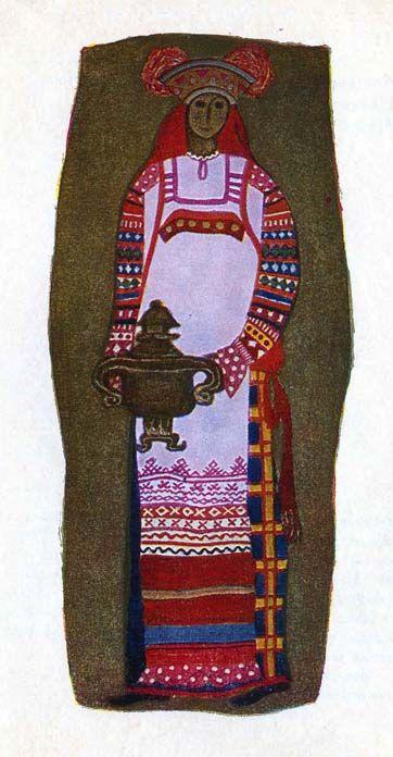 """Костюм крестьянки Тульской области. Костюм состоит из домотканных рубахи, поневы и передника. Холщовый передник украшен вышивкой, воспроизводящей старинные узоры: """"гребешки"""", """"городки"""", """"гребенчатые ромбы"""", полосами из кумача и из ситца с мелким рисунком по красному ситцу. Поверх поневы повязывается шерстяной красный пояс. Головной убор-сорока завершает костюм."""