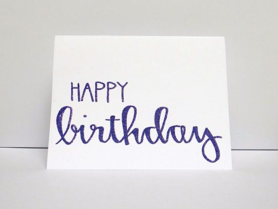 Purple happy birthday modern calligraphy heat embossed