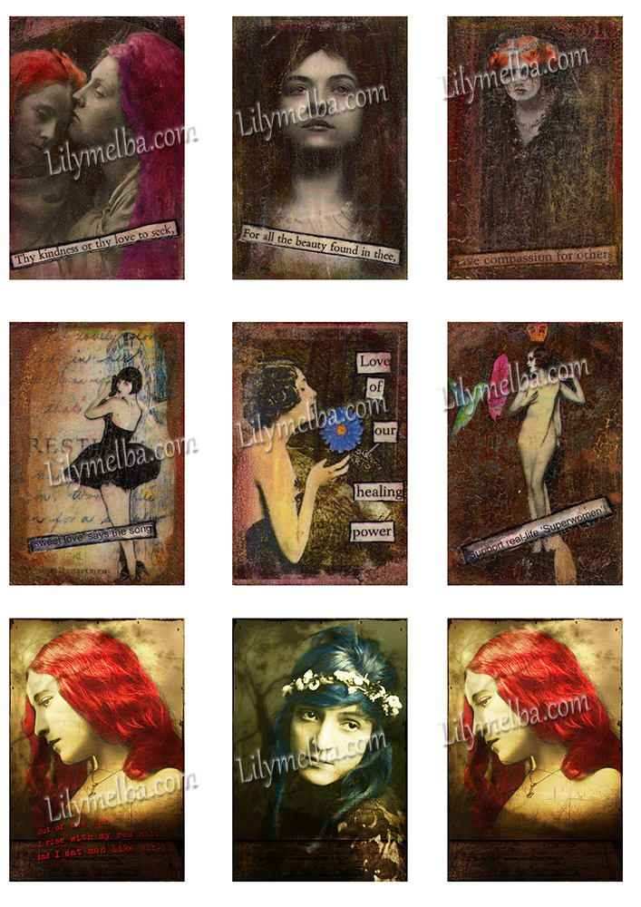 Artist Trading Card Females ..... A4 digital download collage sheet... by Lilysart1 on Etsy