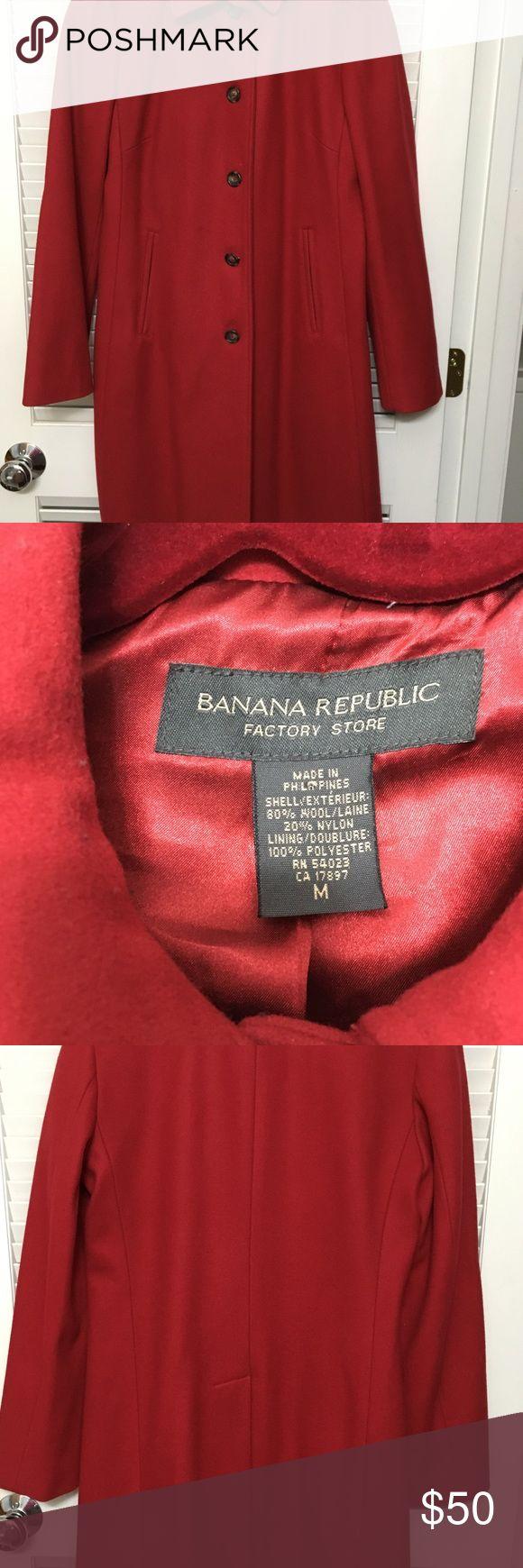 Long Winter Coat Banana Republic red winter coat Warm w silky liker. Midi length Banana Republic Jackets & Coats