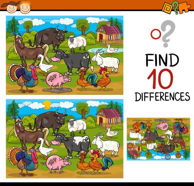 Encontrar Diferencias Juego De Dibujos Animados Vector Premium Encuentra Las Diferencias Lenguaje Figurado Actividades De Espanol