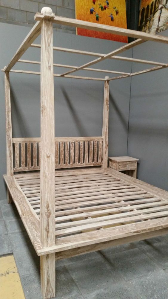 Balinese Teak Wood Hand Carved Minimalist Four Poster Bed