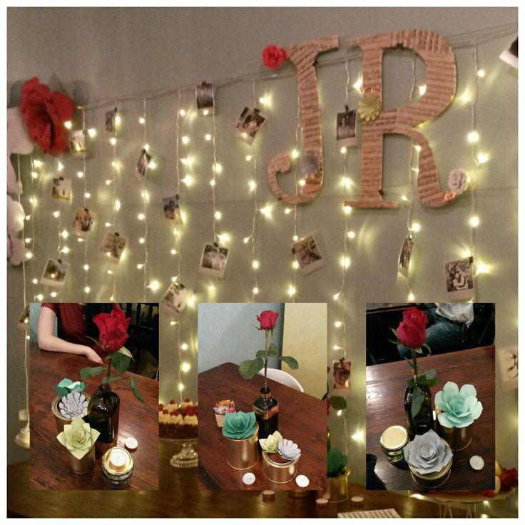 Fairy light curtain Polaroids paper flowers Paper succulents
