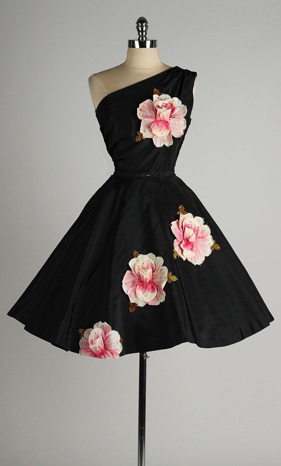 1950's black taffeta appliquéd dress