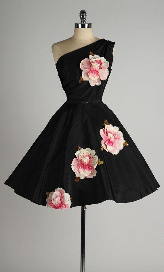 vintage 1950s dress . black taffeta . floral by millstreetvintage