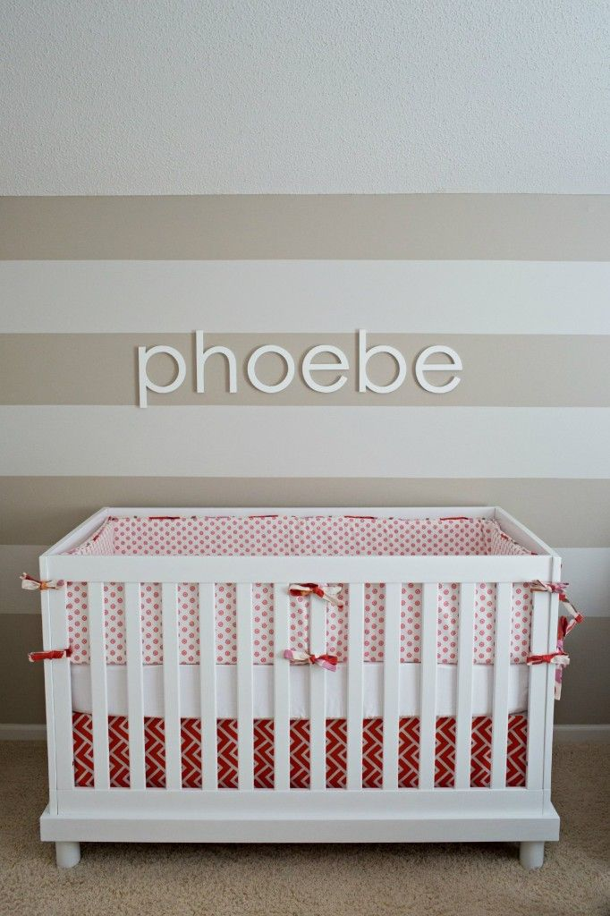 Simple, modern nurseryStripes Nurseries, Pink Nurseries, Nurseries Beds, Phoebe Nurseries, Red Nurseries, Projects Nurseries, Modern Nurseries, White Stripes, Accent Wall