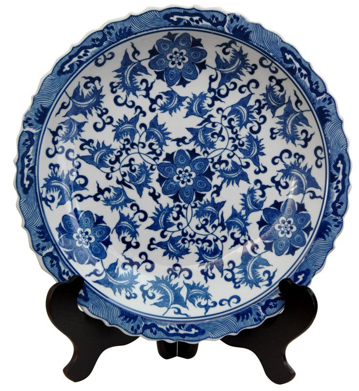 Oriental Furniture Floral Decorative Plate In Blue And White | Wayfair