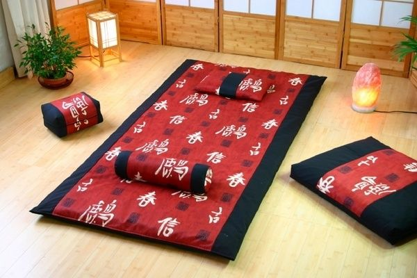 traditional futon mattress Japanese futon mattress red black pillow cover