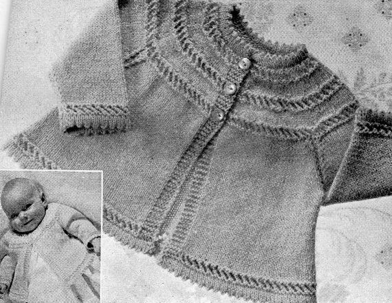 Free Vintage Knitting Patterns To Download : PDF knitting pattern / Baby Matinee Coat Cardigan / Vintage Knitting Pattern ...