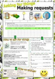 English worksheet: MAKING REQUESTS - Asking for things - EXPLANATION + EXAMPLES + EXERCISES