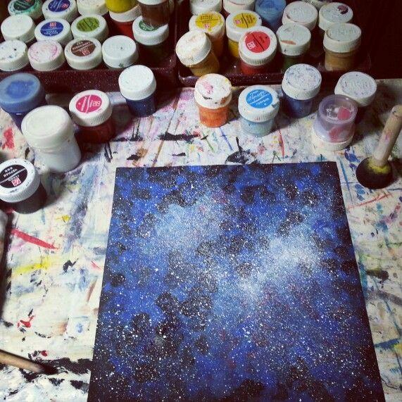 Art space drawing by atatay арт обстановка краски рисунок космос ататай