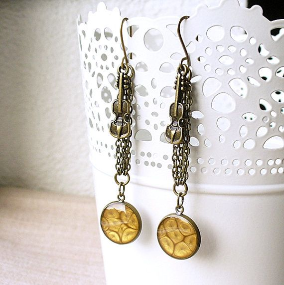 Golden Violin Long Chain Earrings Brass Dangle by StudioLadybird, $29.00