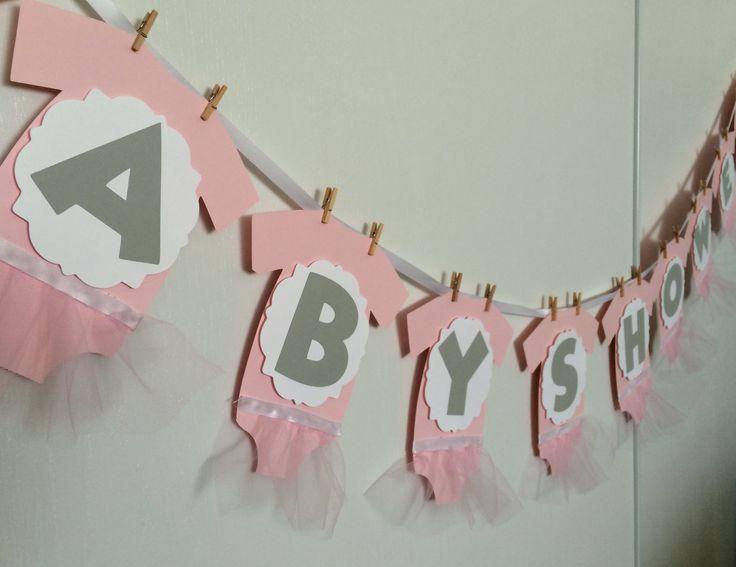 Onesie with tutu baby shower banner