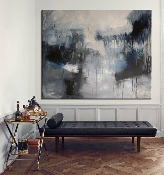 Giclee Print extra große grau schwarz weiß abstrakte Malerei
