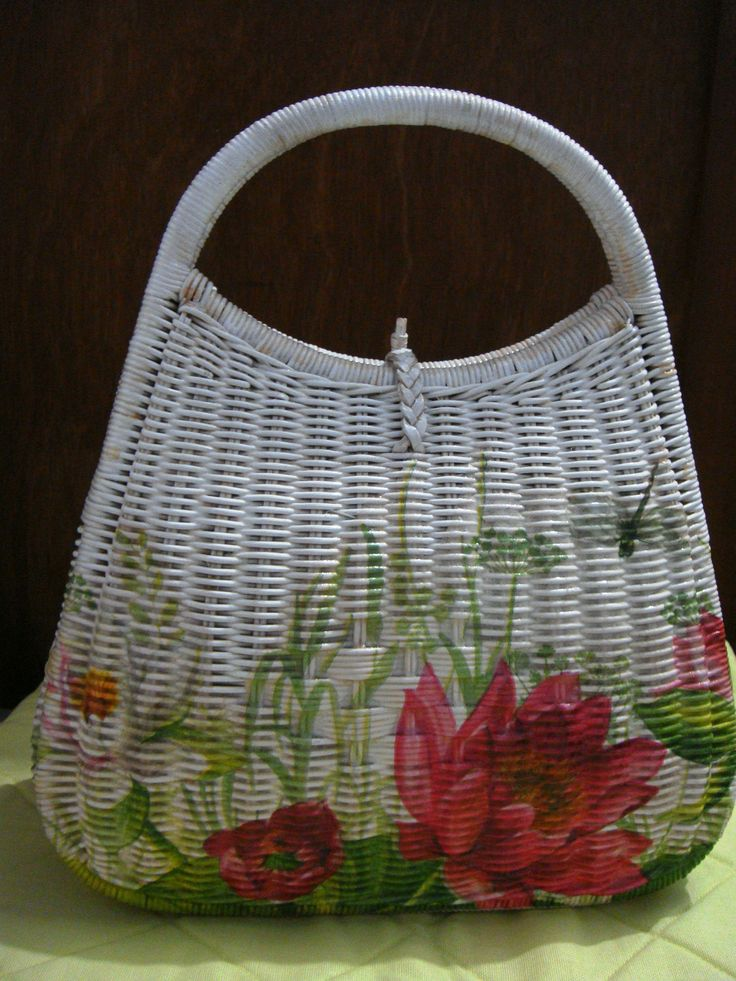 Decoupage Rattan bag