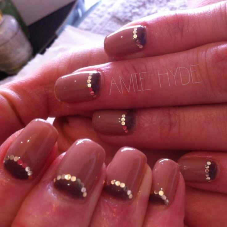 Half moon nude manicure calgel nails