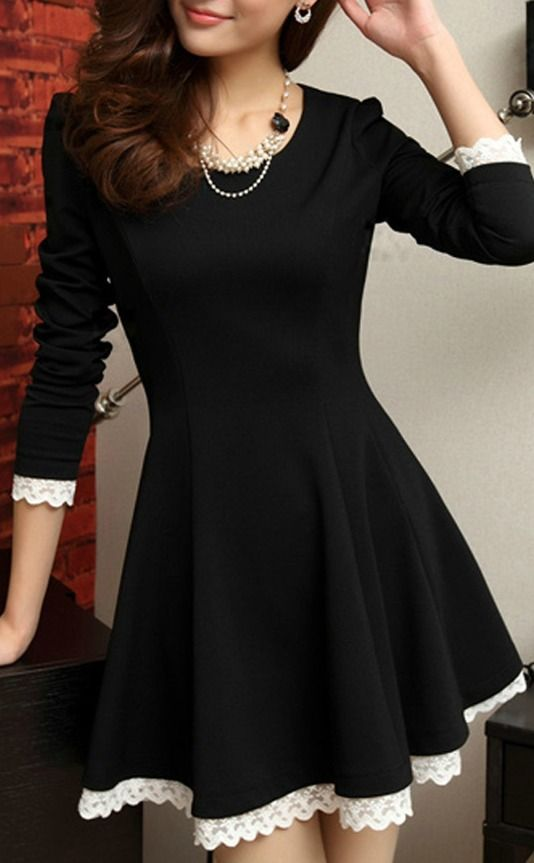 Elegant Round Neck Long Sleeve A-line Dress<3
