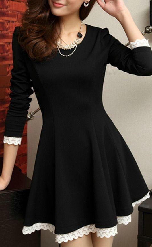 Elegant round neck long sleeve a line dress dresses fashion style