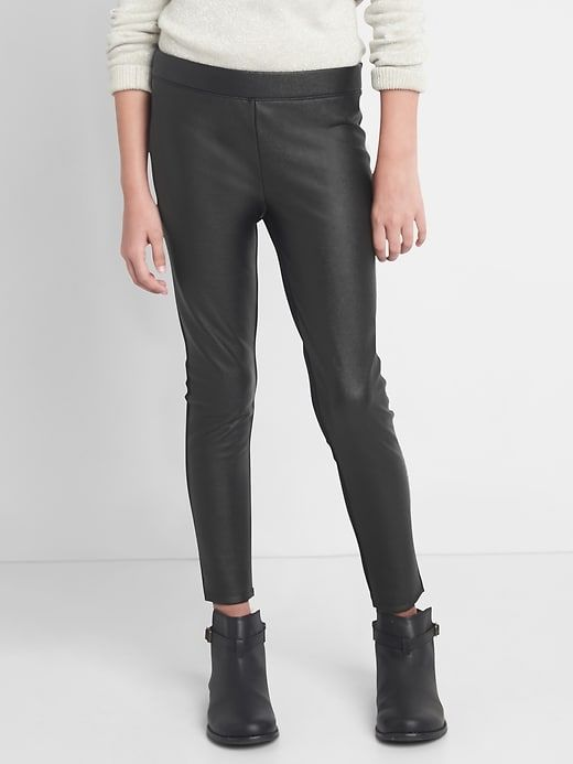 these are hot for Moms and girls this season - pleather leggings.  Go with everything and super cute!
