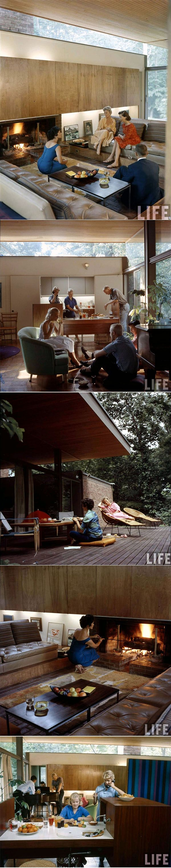 LIFE Magazine, 1958: Beattie Residence. A conversation pit! [mid century modern 1960s vintage photo]