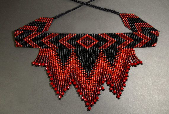 Red and Black seed bead choker Crystals by HandmadeGiftsStore