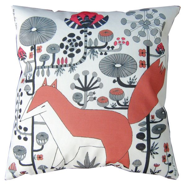 cushion,, Fox,, series ,, Fabelskog,,  by Anna Strøm design of Norway www.design-of-norway.no