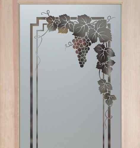 Vineyard Grapes Garland Pantry Door Sandblasted Etched